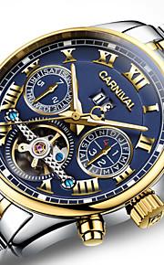 Carnival 남성용 스켈레톤 시계 오토메틱 셀프-윈딩 스테인레스 스틸 화이트 / 골드 30 m 중공 판화 아날로그-디지털 사치 - 골드 / 블루