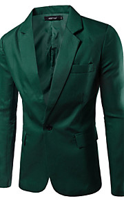 Hombre Trabajo Básico Primavera / Otoño Blazer, Un Color Solapa de Pico Manga Larga Algodón / Poliéster Verde / Azul / Caqui XL / XXL / XXXL / Informal de negocios