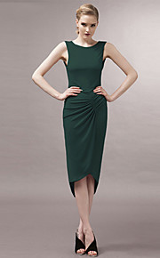 JOANNE KITTEN Women's Asymmetrical Party Plus Size / Sexy / Vintage Dress,Solid Asymmetrical Sleeveless Blue / Green Polyester / Spandex All Seasons
