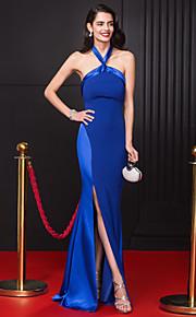 A tubino All'americana Lungo Chiffon Raso elasticizzato Graduazione / Serata formale Vestito con Spacco sul davanti di TS Couture®