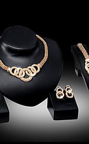 בגדי ריקוד נשים סט תכשיטים - לִכלוֹל שרשרת / עגיל / צמיד כסף / מוזהב עבור חתונה / Party / יומי / טבעת / טבעות / עגילים / שרשראות