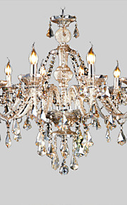 10 lumières Bougie Lustre Lumière dirigée vers le haut - Cristal, 110-120V / 220-240V Ampoule non incluse / 40-50㎡ / E12 / E14