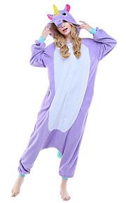 어른' 올인원 캐릭터 파자마 Unicorn 동물 점프수트 파자마 폴라 플리스 퍼플 / 블루 / 핑크 코스프레 에 대한 남자와 여자 동물 잠옷 만화 페스티발 / 홀리데이 의상