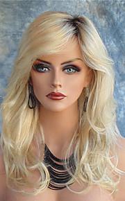 Syntetiske parykker Krop Bølge Med lugg Side del Mørke røtter Blond Dame Blonde Forside Karneval Parykk Halloween parykk Naturlig parykk