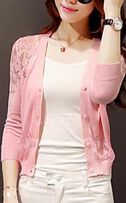 Жен. Аппликация Однотонный Длинный рукав Длинный Кардиган, V-образный вырез Осень Шерсть Черный / Розовый / Темно-розовый M / L / XL