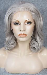 Syntetiske parykker Krøllet Naturlig hårlinje Grå Dame Blonde Forside Karneval Parykk Halloween parykk Naturlig parykk Medium Syntetisk