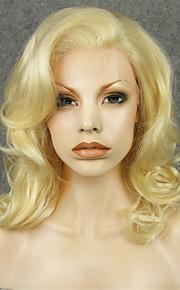 Syntetiske parykker Krøllet Blond Dame Blonde Forside Naturlig parykk Syntetisk hår