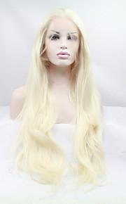 Syntetisk blonder foran parykker Rett Blond Dame Blonde Forside Naturlig parykk Syntetisk hår
