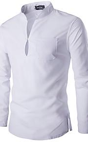 남성용 솔리드 스탠드 슬림 베이직 - 셔츠, 베이직 / 시누아즈리 면 화이트 L / 긴 소매 / 봄 / 가을