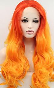 Syntetisk blonder foran parykker Naturlige bølger Naturlig hårlinje Ombre-hår Rød Dame Blonde Forside Karneval Parykk Halloween parykk
