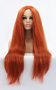 Syntetisk blonder foran parykker Rett Midtskill Naturlig hårlinje Rød Dame Blonde Forside Karneval Parykk Halloween parykk Naturlig parykk