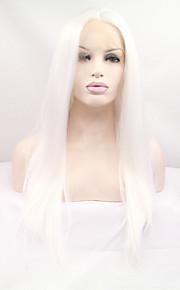 Syntetisk blonder foran parykker Rett Dame Blonde Forside Karneval Parykk Halloween parykk Naturlig parykk Syntetisk hår