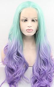 Syntetisk blonder foran parykker Naturlige bølger Blå Dame Blonde Forside Karneval Parykk Halloween parykk Cosplay-parykk Syntetisk hår