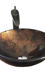 Antico T12*Φ420*H145MM Tondo Materiale del dissipatore è Vetro temperatoLavandino bagno / Rubinetto per bagno / Anello di montaggio per