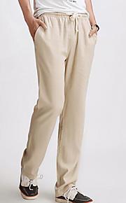 สำหรับผู้ชาย Chinoiserie ผ้าลินิน เพรียวบาง / กางเกงวอร์ม กางเกง - สีพื้น สีดำ / ฤดูใบไม้ผลิ / ตก