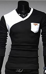 Ανδρικά T-shirt Καθημερινά / Αθλητικά Βαμβάκι Συνδυασμός Χρωμάτων / Μακρυμάνικο