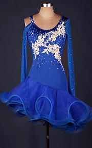 Latinské tance Šaty Dámské Výkon Spandex   Organza Volány   Květiny    Barevně dělené Dlouhý rukáv 4a35042532d