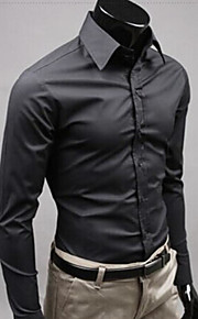Муж. Офис Рубашка Хлопок Тонкие Деловые / Уличный стиль Однотонный Желтый XL / Длинный рукав