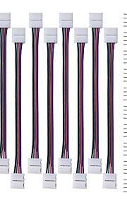 10stk førte 5050 rgb stribe lys stik 4 leder 10 mm bred strimmel at fratage jumper med 20pcs 4-pin hanstik til 3528 5050 SMD RGB LED bånd