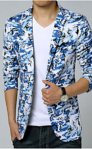 Per uomo Quotidiano / Per uscire / Fine settimana Primavera / Estate Standard Giacca, Camouflage Colletto Manica lunga Cotone Con stampe Blu XXXL / 4XL / XXXXXXL / Taglia piccola
