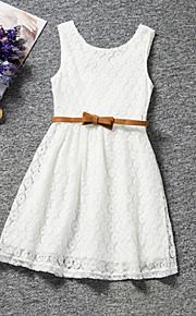 아동 여아 단 파티 / 일상 / 생일 솔리드 레이스 민소매 보통 보통 드레스 화이트