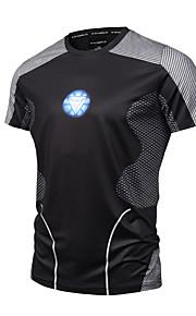 Hombre Activo / Punk & Gótico Deportes Estampado - Algodón Camiseta, Escote Redondo Bloques Negro XL / Manga Corta