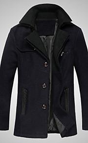 男性用 日常着 ベーシック 冬 レギュラー コート, ソリッド スタンド 長袖 コットン ブラック / グレー / ブルー XL / XXL / XXXL