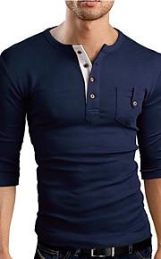 Ανδρικά T-shirt Αθλητικά Βαμβάκι Μονόχρωμο Λαιμόκοψη V Λεπτό Βαθυγάλαζο L / Μακρυμάνικο