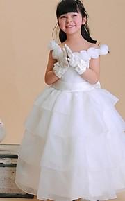 С пышной юбкой До щиколотки Детское праздничное платье - Органза Без рукавов Совок шеи с Бант(ы) Цветы от LAN TING Express