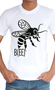 Hombre Chic de Calle Deportes / Playa Estampado Camiseta, Escote Redondo Blanco XL / Manga Corta / Primavera / Verano