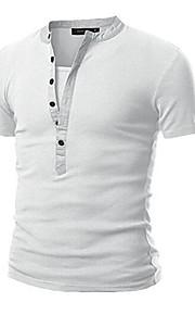 男性用 スポーツ Tシャツ ラウンドネック ソリッド コットン / 長袖