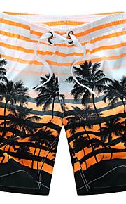 男性用 活発的 / ボヘミアン プラスサイズ コットン ルーズ / ショーツ パンツ - ストライプ オレンジ / 夏 / ビーチ