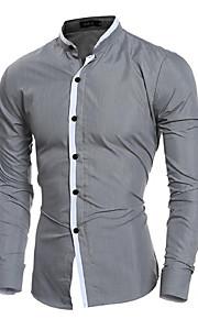 Муж. Офис Рубашка Хлопок, Воротник-стойка Деловые Однотонный Белый L / Длинный рукав