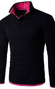 男性用 ワーク - ベーシック プラスサイズ Polo 活発的 シャツカラー スリム カラーブロック コットン / リネン / 長袖