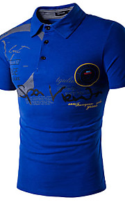 男性用 プリント Polo 活発的 シャツカラー スリム レタード コットン / 半袖