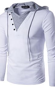 男性用 パッチワーク Tシャツ 活発的 / ストリートファッション フード付き スリム ソリッド コットン / 長袖