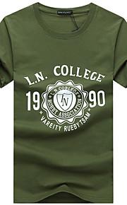 Hombre Deportes Tallas Grandes Agujero / Estampado - Algodón Camiseta, Escote Redondo Delgado Letra Negro XXXL / Manga Corta / Verano