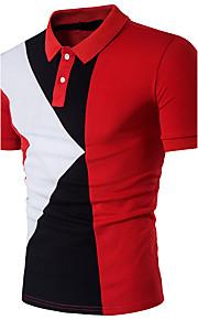男性用 パッチワーク Polo 活発的 シャツカラー スリム カラーブロック コットン / 半袖