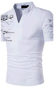 男性用 スポーツ - プリント Tシャツ 活発的 ボヘミアン スタンド スリム コットン
