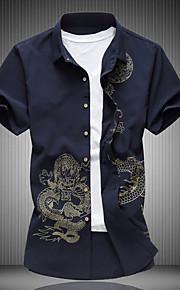 رجالي قطن قميص نحيل ياقة كلاسيكية طباعة لون الصلبة أسود XXXXL / كم قصير / الصيف