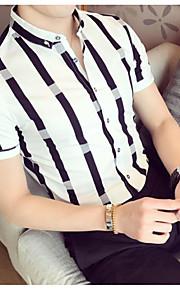 男性用 Polo シャツカラー スリム ストライプ コットン / 半袖