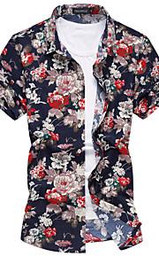 رجالي قطن قميص ياقة كلاسيكية وردة ورد أحمر XXXXL / كم قصير / الصيف