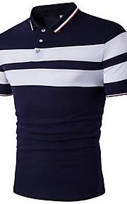 男性用 プラスサイズ Polo 活発的 シャツカラー スリム ストライプ コットン ブラック&ホワイト / 半袖