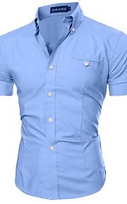 Pánské - Jednobarevné Košile, Základní Límeček s knoflíkem Štíhlý Fialová XL / Krátký rukáv / Léto
