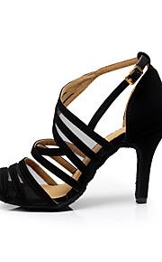 여성용 플로킹 샌달 버클 스틸레토 굽 주문제작 가능 댄스 신발 블랙 / 연습용