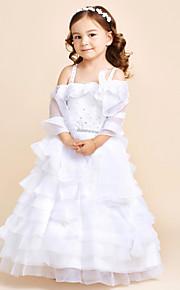 Принцесса этаж длина цветок девушка платье - органза без рукавов ремень с цветком