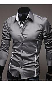 Chemise Homme, Couleur Pleine - Coton Basique Travail Business Col Italien Mince Blanc XL / Manches Longues