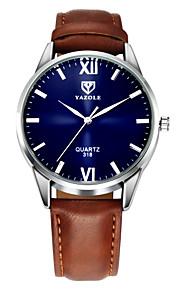 YAZOLE 남성용 손목 시계 가죽 블랙 / 브라운 캐쥬얼 시계 아날로그 클래식 캐쥬얼 - 블랙 브라운 1 년 배터리 수명