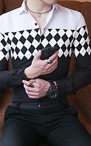 Ανδρικά Μεγάλα Μεγέθη Πουκάμισο Βαμβάκι Τετράγωνο Καρό Κλασσικός γιακάς Λεπτό Στάμπα Ασπρόμαυρο / Μακρυμάνικο
