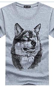 男性用 プリント Tシャツ 活発的 ラウンドネック スリム 動物 コットン / リネン オオカミ